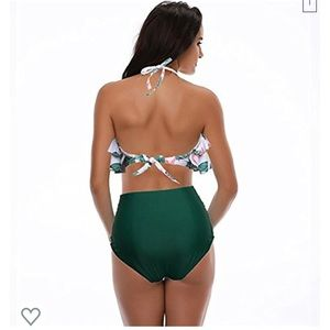 Swim - Retro Boho Flounce Falbala High Waist Bikini Set
